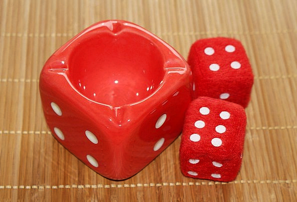 Roll The Dice Red Bloodshot Ashtray