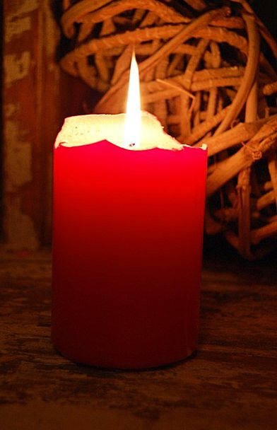 Candle Taper Bright Red Bloodshot Light Candleligh