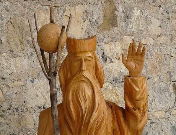 Holzfigur Statue Figurine Fig Form Priest Minister