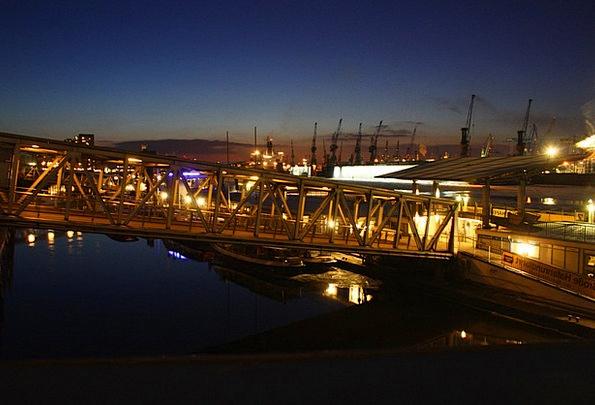 Port Harbor Night Nightly Hamburg Bridge Bond