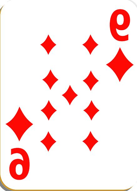 Playing Card Diamonds Rhombuses Nine Casino Game W