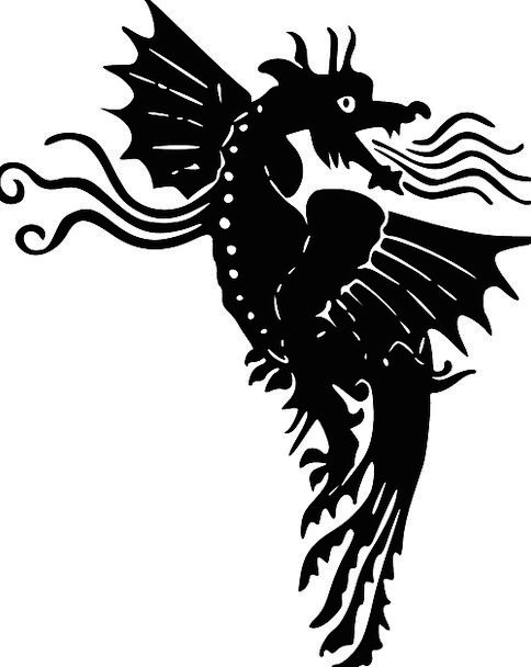 Dragon Outline Black Dark Silhouette Flying Blowin
