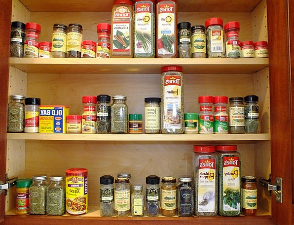 Cabinet Cupboard Interests Orderly Arranged Spices
