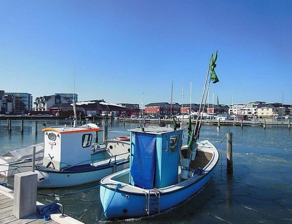 Port Harbor Marina Blue Sky Fishing Boats Water Fi