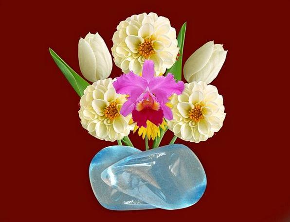 Vase Urn Plants Blue Stone Flowers White Girls Dec