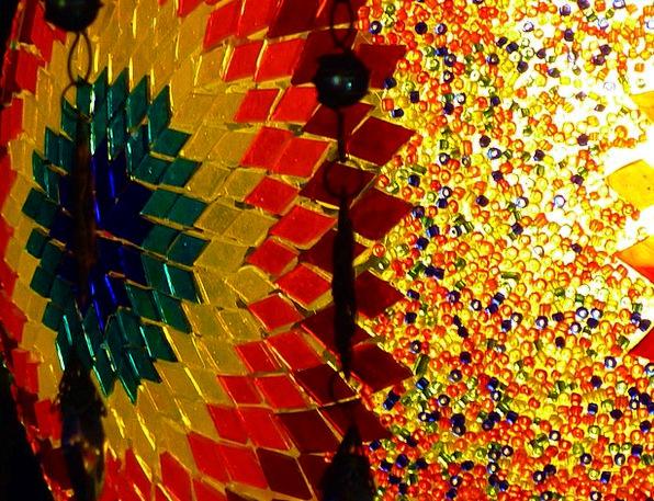 Colorful Interesting Medley Glass Cut-glass Mosaic