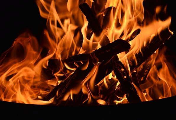Fire Passion Woods Burning Red-hot Logs Warm Night