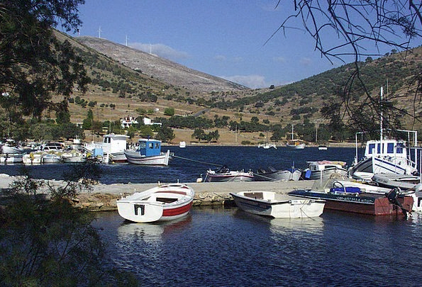 Greek Port Fishing Angling Harbor Boats Ships Idyl