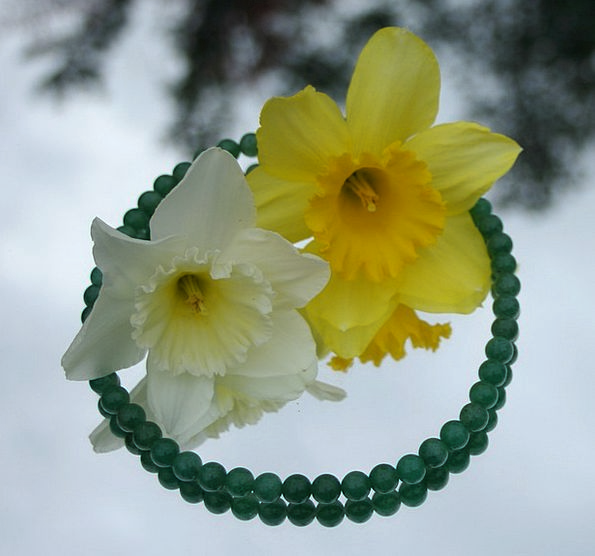 Jade Emerald Fashion Chain Beauty Daffodils Neckla