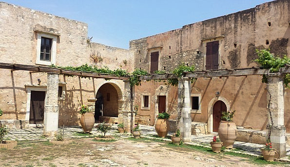 Crete Cloister Arcade Colonnade Monastery Pergola