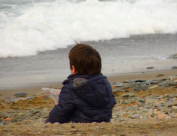 Child Youngster Marine Beach Seashore Sea Wave Ups