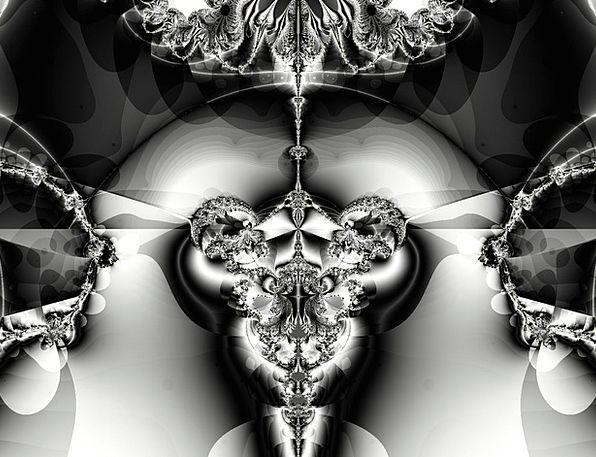 Fractal Dark White Snowy Black Design Project Back