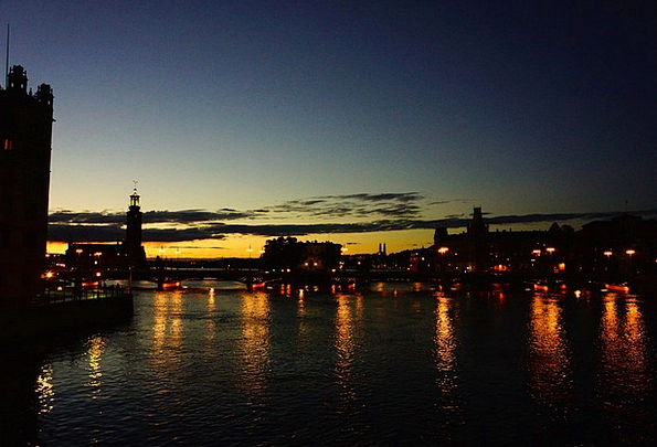 Stockholm Night View Sweden Riverside Waterside