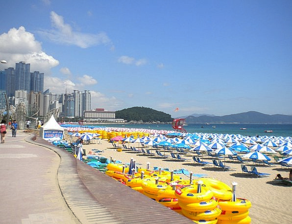 Busan Vacation Travel Umbrellas Canopies Haeundae