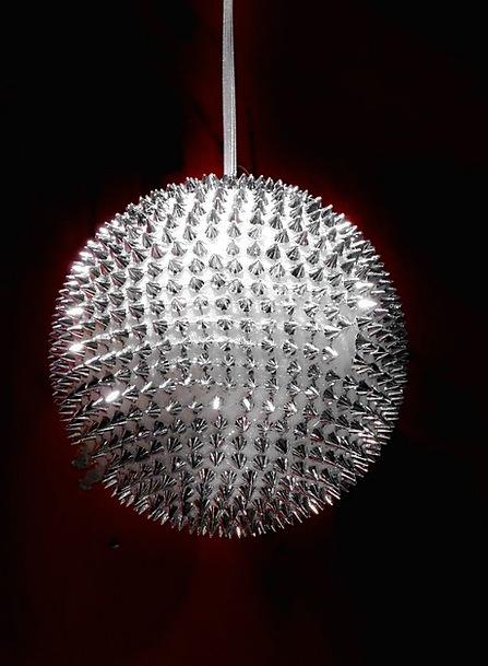 Glass Ball Gray Christmas Decoration Silver Large