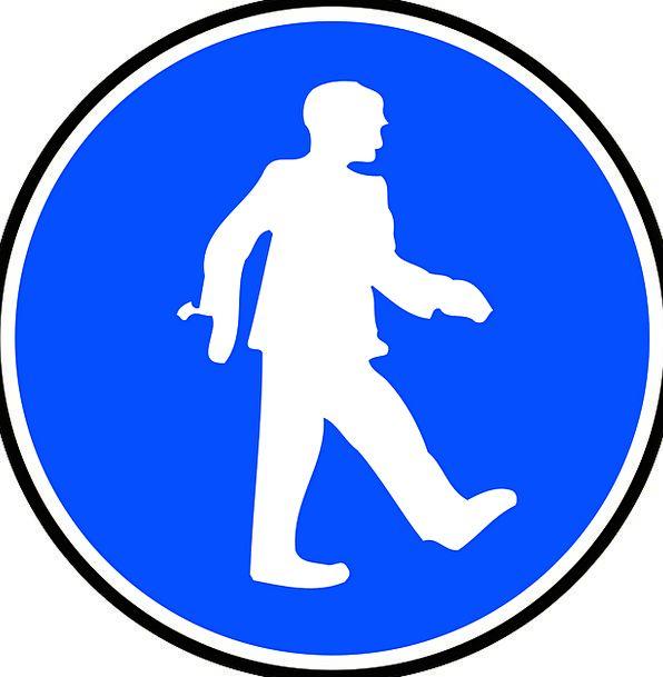 Man Gentleman Caution Carefulness Walking Warning