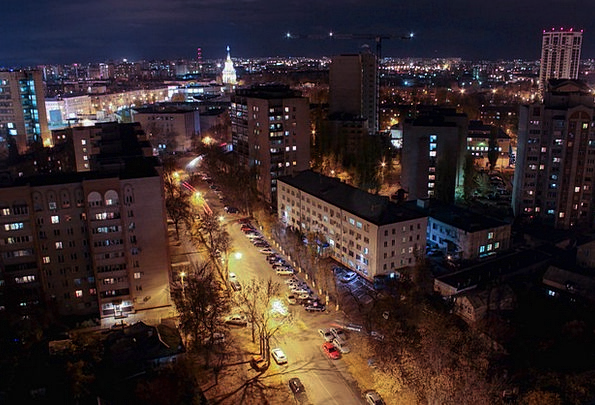 Voronezh View From Above Night City