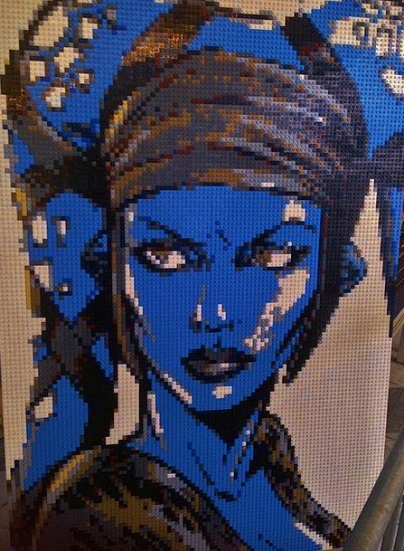 Lego Medley Blue Azure Mosaic Sculpture Statue Leg