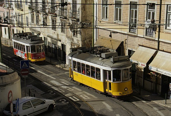 Tram Traffic Transportation Old Town Lisbon Train
