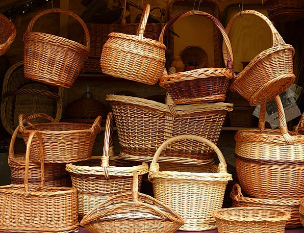 Wicker Cane Craft Bags Industry Weave Pile Baskets