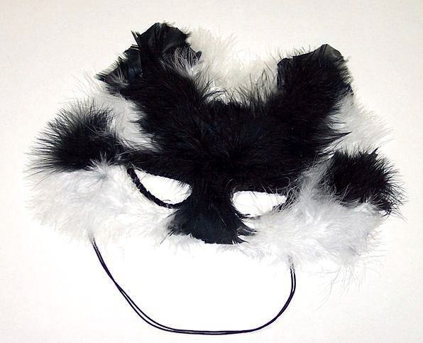Black Dark Snowy Cat Feline White Mask Cover Feath