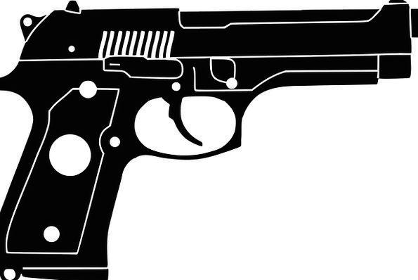 Pistol Gun Firearm M9 Weapon Armament Silhouette B