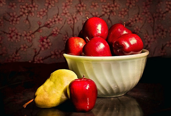 Apples Pear Still-Life Fruits Ovaries Bowl Ball