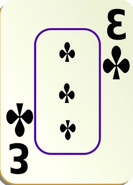 Clubs Bats Three 3 Recreation Playing Card Game Ca