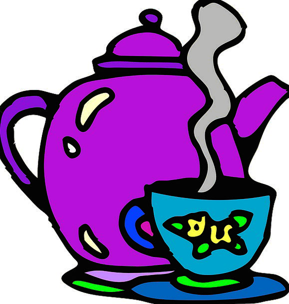 Tea Set Tea service Cup Mug Teapot Purple Steaming