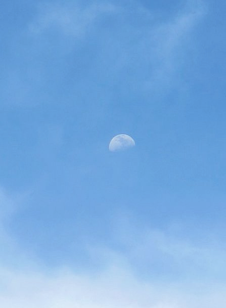 Moon Day Blue Clouds Vapors Sky