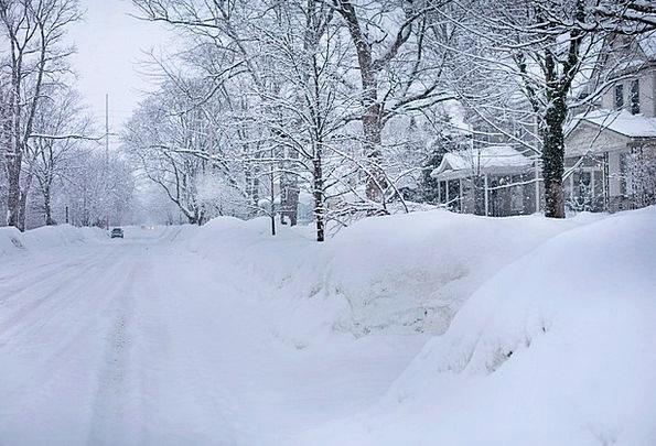 Snowy Street Winter Season Deep Snow Michigan Icy