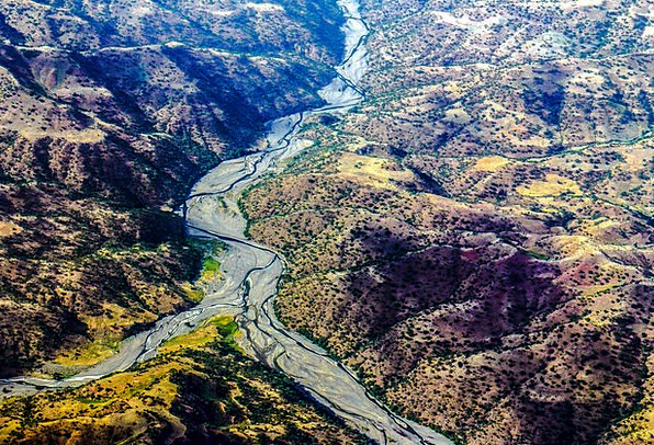 Ethiopia Aerial View River Landscape Hill Knoll