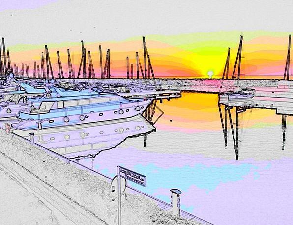 Port Harbor Vacation Sundown Travel Boats Ships Su