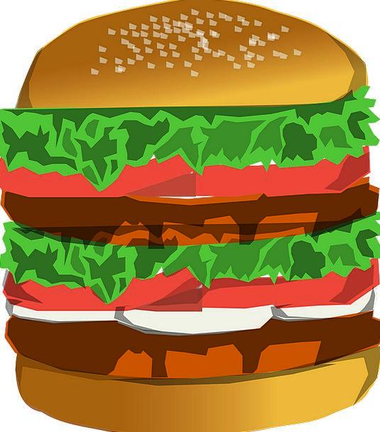 Hamburger Drink Sumptuous Food Huge Enormous Delux