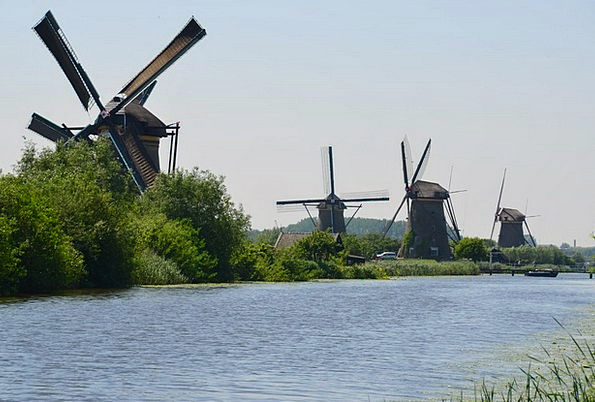 Windmills Canals Holland Channels Stations Water W