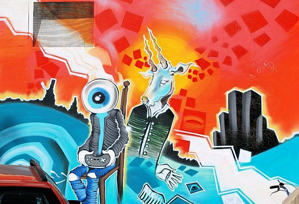 Graffity Wall Painting Fresco Hauswand Colorful In