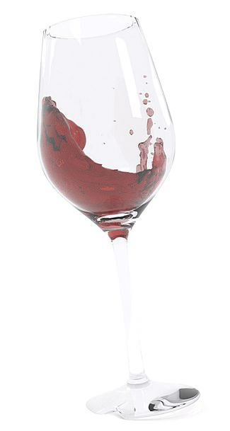 Wine Glass Mauve Liquid Runny Wine Render Reduce R