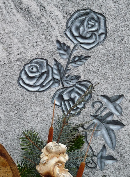 Roses Designs Gravestone Stone Pebble Tombstone Co