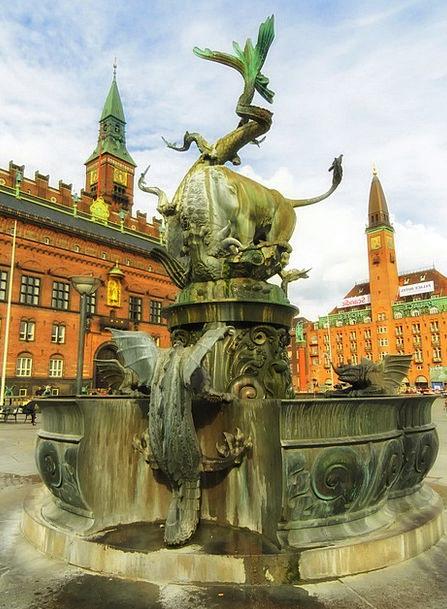 Copenhagen Buildings Architecture Fountain Dragon