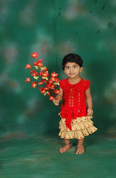 Cute Attractive Lassie Child Youngster Girl Flower