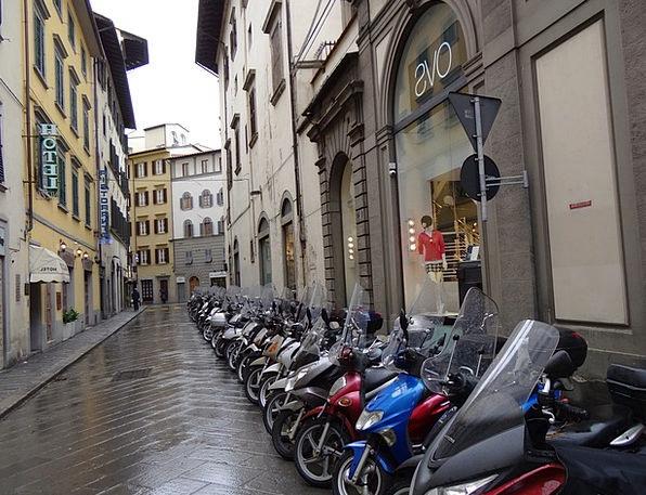 Motor Scooter Traffic Street Transportation Wet Ro