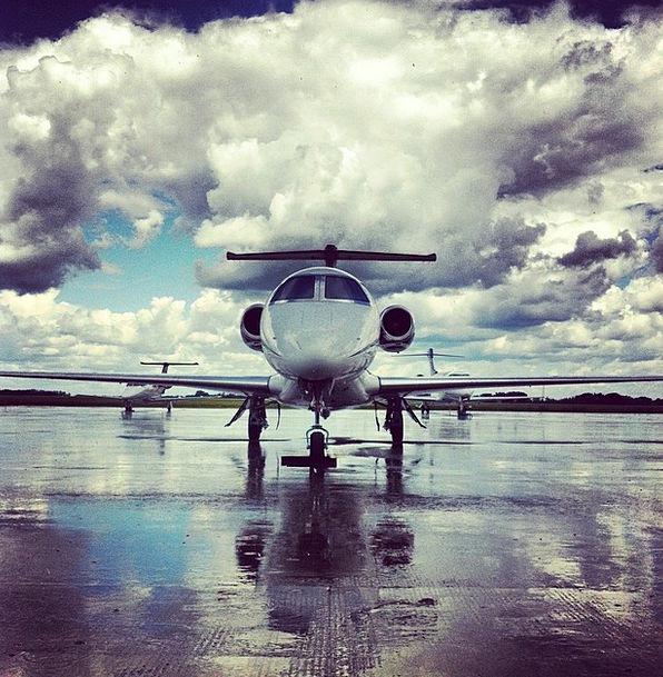 Plane Flat Clouds Vapors Jet Airport Airfield Land