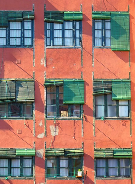 Window Gap Buildings Shades Architecture Green Lim