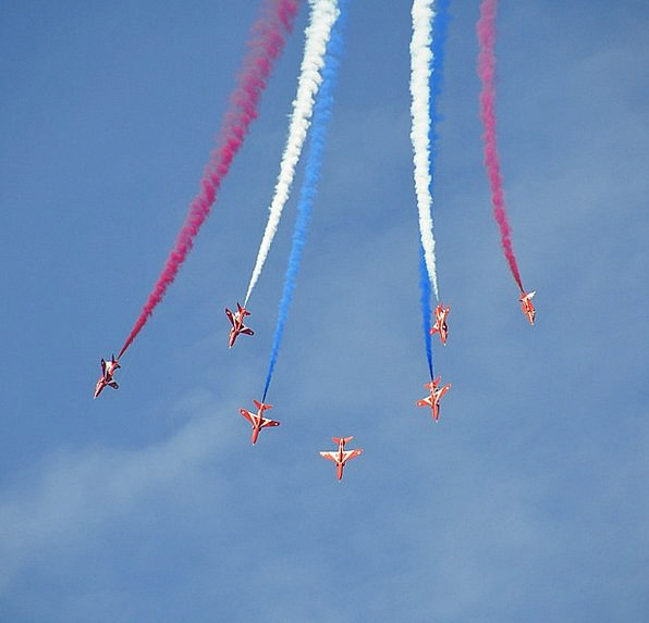 Airshow Flyover Fighter Jets Red Arrows Smoke Airp