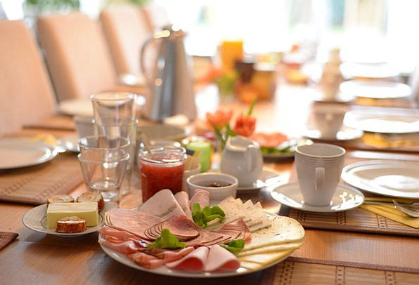 Breakfast Mealtime Drink Food Table Bench Cold Cut
