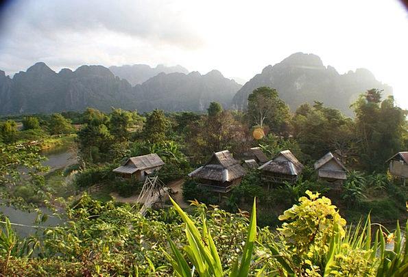Laos Landscapes Sheds Nature Asia Huts Bungalow Na