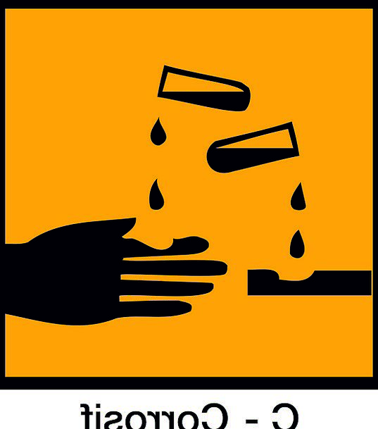 Sign Symbol Harsh Acid Cutting Corrosive Hazardous