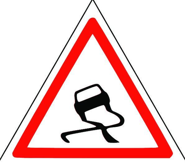 Roadsigns Greasy Danger Slippery Attention Slanted