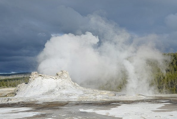 Geyser Spring Landscapes Nature Yellowstone Castle