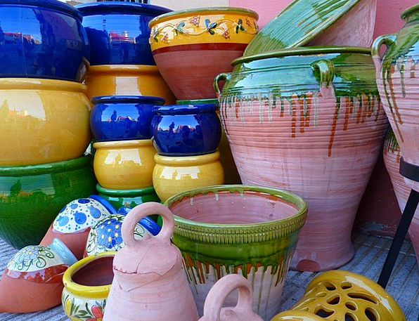 Ceramic Earthenware Vessels Containers Pots Colorf